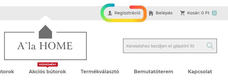 Regisztráció az AlaHome webáruházban